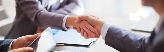 Businesswoman and businessman shake hands during a meeting