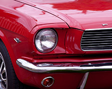 Close up of a red classic car