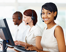 Customer service call center woman smiling