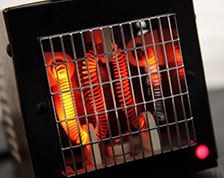 Space heater with hot orange coils