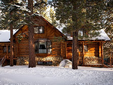 Snow-covered log cabin in a pine forest