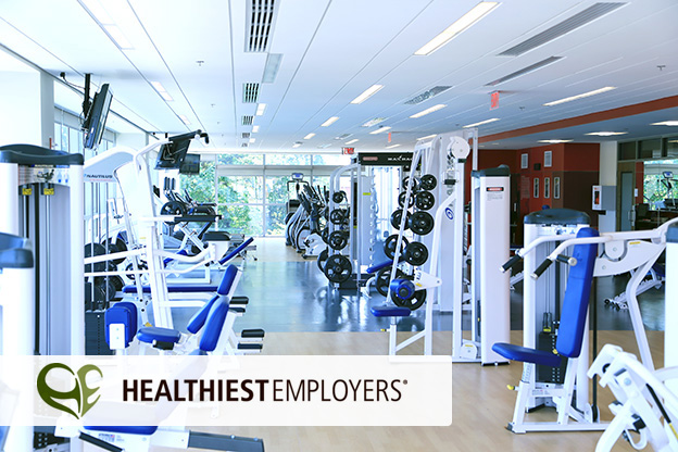 Photo of Grange fitness center, including Healthiest Employers logo